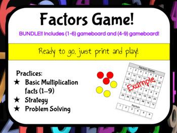 Multiplication Factors Game BUNDLE! Math facts 1-6 and 4-9 NO PREP