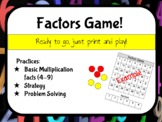 Multiplication Factors Game (Practicing facts 4-9) NO PREP