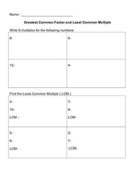 Factors, Great Common Factor, Least Common Multiple