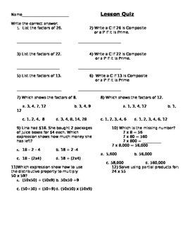Factors Homework