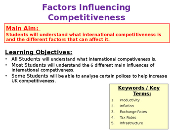 Factors Influencing International Competitiveness - UK & World Economics