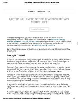 Factors Influencing Motion: Newton's First and Second Laws - Legends of Learning