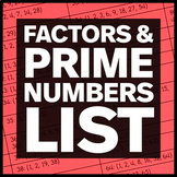 Factors List and Prime Numbers List (.pdf)