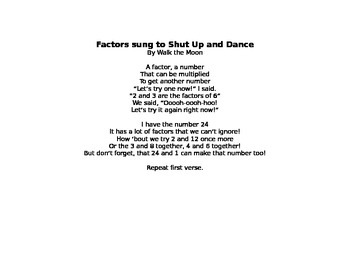 Factors Lyrics to Shut Up and Dance Music