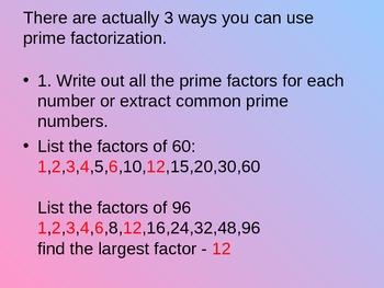 Factors & Multiples 6th Gr. MATH COMMON CORE