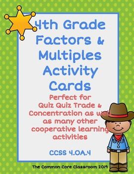 Factors & Multiples Activity Cards CCSS 4.OA.4 4th Grade Math Center