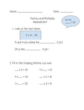 Factors & Multiples Assessment