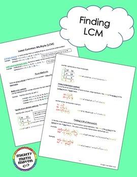 Factors & Multiples Bundle - note handouts for Prime Factorization, GCF and LCM