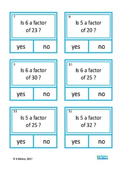 Factors Multiples Cards Autism Special Education Independent Work