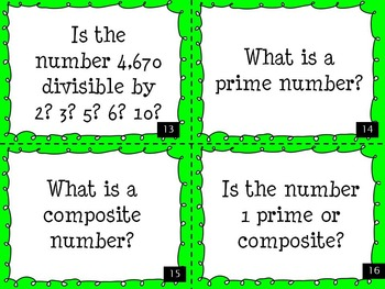Factors, Multiples, Divisibility, Prime, and Composite Task Cards
