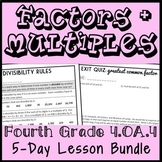 Factors & Multiples Lesson Bundle: 4th Grade Number Sense Unit, 4.OA.4