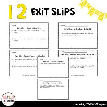 Factors & Multiples Exit Slips - 4th Grade