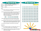Factors:  Multiples, Factors, Composites and Primes Game