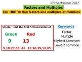 Factors, Multiples, Highest Common Factors and Lowest Comm