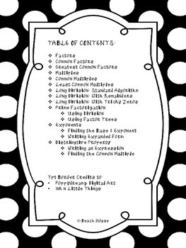 Factors, Multiples, Long Division & Exponents Student Handbook