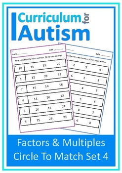 Factors Multiples Match Autism Special Education Independent Task