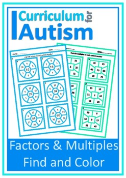 Factors and Multiples Worksheets Autism Special Education