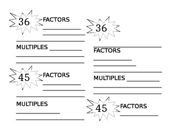 Factors & Multiples Practice for Interactive Notebooks