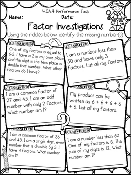 Factors, Multiples, Prime & Composite Numbers 4th Grade Printables 4.OA.4