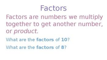 Factors & Multiples/Prime & Composite Numbers PowerPoint
