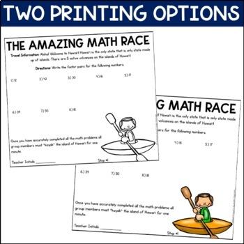 Factors, Multiples, Prime/Composite Numbers Review (Amazing Math Race)