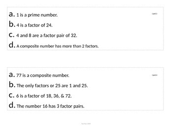 Factors, Multiples, Prime and Composite 3 Facts and a Fib Activity