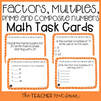 4th Grade Factors, Multiples, Prime and Composite Task Cards and Math Center