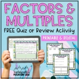 Factors Multiples Prime and Composite Numbers Activity