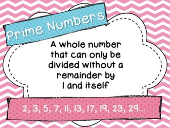 Factors, Multiples, Prime and Composite Numbers Math Word Wall Posters