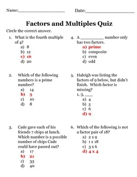 Factors, Multiples, Prime and Composite Numbers Quiz