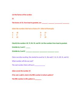 Factors, Multiples, Prime and Composite POP Quiz!