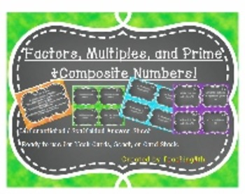 Factors, Multiples, Prime and Composite Task Cards