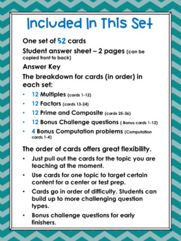 Factors, Multiples, Prime and Composite Task Cards 4.OA.B.4