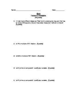 Factors & Multiples Quiz