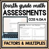 Factors & Multiples Quiz, 4th Grade 4.OA.4 Assessment, Includes 2 Versions!