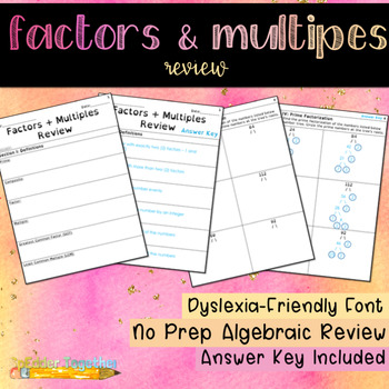 Factors & Multiples Review Study Guide