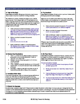 Factors & Multiples Teacher Lesson Plan & Student Worksheets