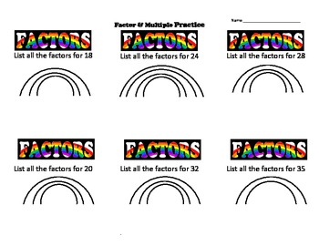 Factors & Multiples Vocab Memorization Trick-Practice Sheet & Drawing Activity