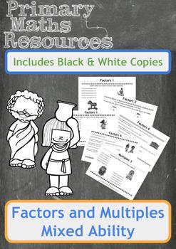 Factors & Multiples Worksheets - Ancient Egyptians & Greeks Theme