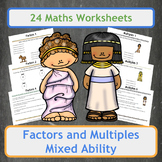 Factors & Multiples Worksheets - Ancient Egyptians & Greeks Theme