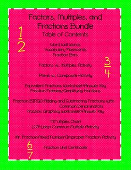 Factors, Multiples, and Fractions Bundle (Common Core Aligned)