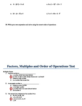 Factors, Multiples and Order of Operations Test