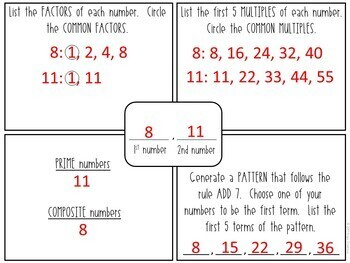 Factors, Multiples, and Patterns EDITABLE 4-Square Mat Activity