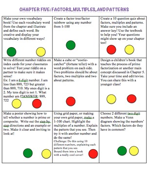 Factors, Multiples, and Patterns Choice Board