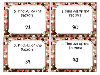 Factors, Multiples, and Prime and Composite Task Cards Bundle