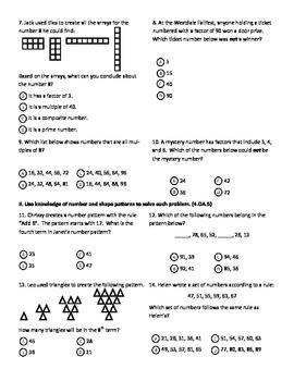 Factors & Number Patterns Test