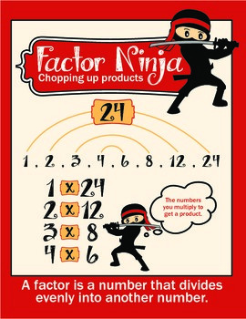 Factors Poster - Math Products with a Ninja Theme