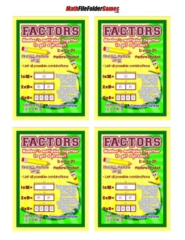 Factors {Poster/Anchor Chart with Cards for Students}