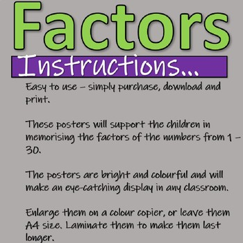 Factors - Posters of numbers 1 - 30 for the classroom - Fidget Spinner design