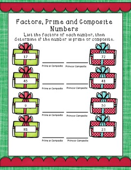 Factors, Prime, and Composite Numbers Holiday/ Christmas Printable!